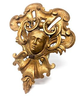 A Woman Head Gold Gilded Wooden Decoration