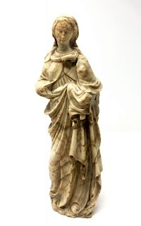 A Renaissance Madona and Child Carved Marble Figurine