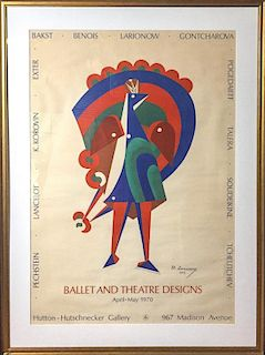 A Russian Avant-Garde Poster, M. Larionow. Ballet and Theater Designs, 1970
