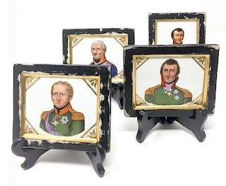 A Set of 4 Hand Painted Porcelaine Plaques. Russian Officers. 1800s