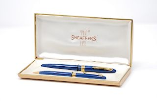A Vintage Sheaffer's 14k Gold Fountain Pen & Pencil Set, 1950s