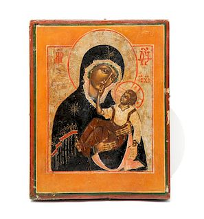 A Russian Painted Icon The Mother and Child (22 x 17 cm)