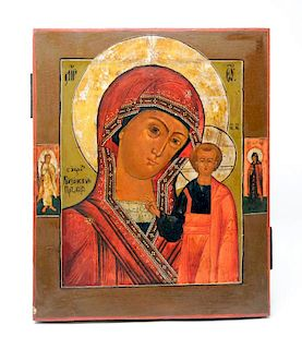 A Russian Painted Icon The Mother and Child (36 x 29 cm)