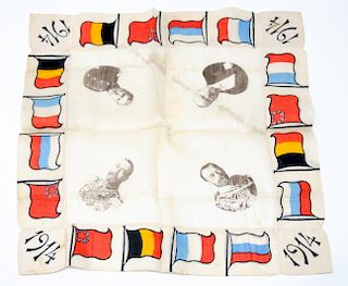 An Engraved Political Silk Handkerchief, WWI Allies, 1914