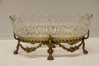 European Cut Crystal on a4 legs Bronze Centerpiece
