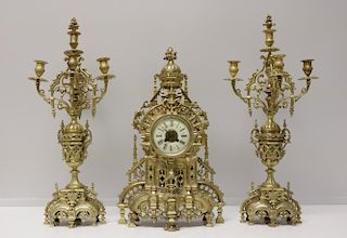 French Bronze Clock Set w/ Candelabra