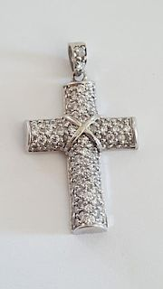 Beautiful 14K Gold & 2 Ct Diamond Cross