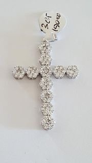 14K White Gold and 3 Ct Diamonds Pendant Cross