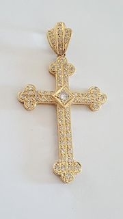 14K Gold & 2.5Ct Diamonds Large Cross Pendant