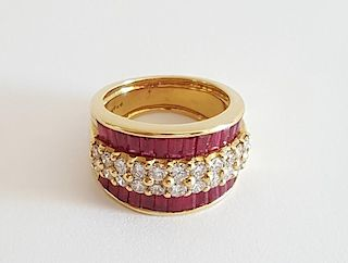 18K Gold Ruby and Diamonds Ring Levian
