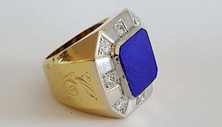 Large Men's 18K Gold Lapis Diamond Ring