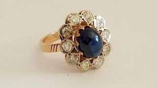 Russian 14K Gold Sapphire Diamonds Ring