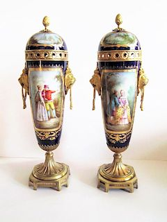 19C Antique Pair Hand Painted Sevres Vases Signed