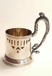 ANTIQUE RUSSIAN SILVER TEA GLASS HOLDER