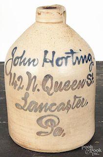 Lancaster, Pennsylvania stoneware script jug, 19th c., inscribed John Horting 142 N. Queen Street L