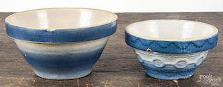 Three stoneware bowls, ca. 1900, to include a blue and white example, with a circle and chain decora