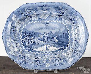 Staffordshire blue transfer Millennium platter, 19th c., 19'' w.