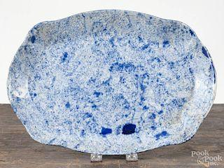 Blue spongeware platter, 19th c., 13 1/4'' w.