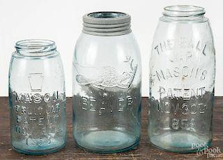 Three fruit jars, including Beaver, The Ball Jar Mason's Patent Nov 30th 1858, and Mason Fruit