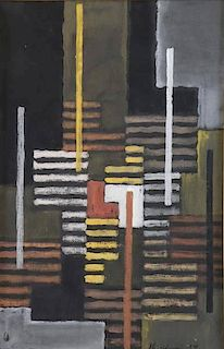 Signed 1959 Abstract Gouache on Paper.