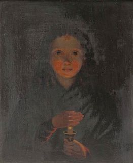 19th Century Oil on Panel. Girl with Candle.