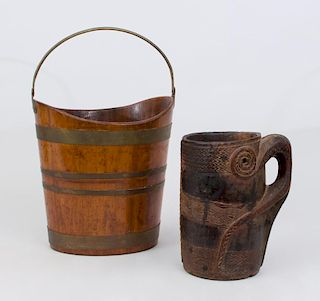 ENGLISH BRASS MAHOGANY NAVETTE-FORM PEAT BUCKET AND AN OVERSIZED TANKARD