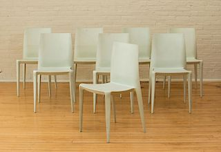 NINE CONTEMPORARY MOLDED FIBERGLASS SIDE CHAIRS