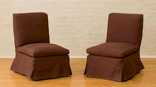 TWO CONTEMPORARY UPHOLSTERED SIDE CHAIRS