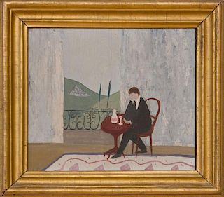 20TH CENTURY SCHOOL: FIGURE SEATED AT RED TABLE