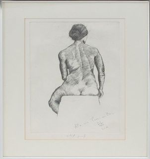 PIETRO CICOGNANI: SEATED NUDE FROM BEHIND