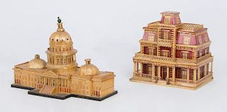 TWO STRAW WORK BOXES, IN THE FORM OF THE U.S. CAPITAL BUILDING, WASHINGTON, D.C. AND THE FRANK BLOOM HOUSE, TRINIDAD, COLORAD