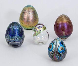 FIVE IRIDESCENT ART GLASS EGGS