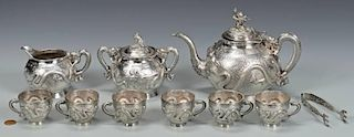 Chinese Export Silver Tea Set, 10 pcs