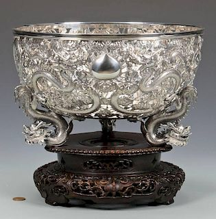 Large Chinese Export Silver Dragon Bowl