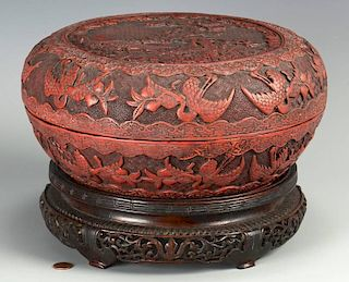 Chinese Cinnabar Covered Circular Box
