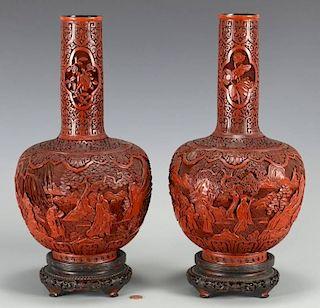Pr. Chinese Cinnabar Bottle Form Vases