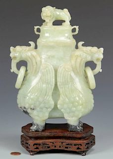 Chinese Archaistic Carved Jade Urn