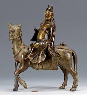 Chinese Bronze Horse w/ Rider, 2 pcs.