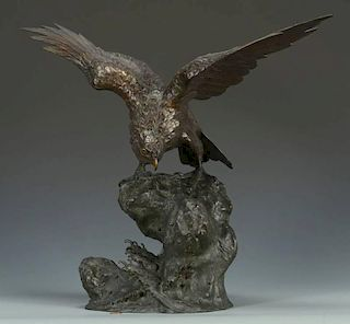 Japanese Meiji Bronze Hawk w/ Hallmark