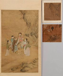 Chinese Scroll w/ Horse & 2 Scroll Fragments