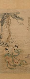 Chinese Scroll depicting 2 beauties