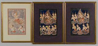 3 Framed Tibetan Thangkas