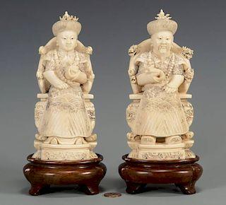 Pr. Chinese Carved Ivory Figures, Emperor & Empress