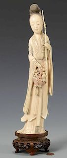 Large Chinese Carved Ivory Quan Yin Figure