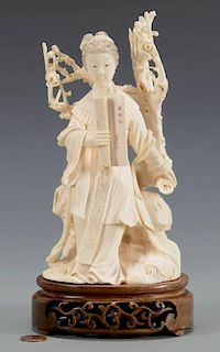 Chinese Carved Figure, Lady w/ Scroll