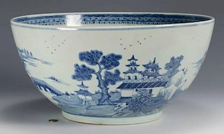 Large Chinese Export Porcelain Punch Bowl