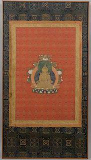 Framed Tibetan Thousand Buddha Thangka