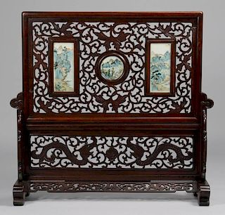 Chinese Republic Screen w/ Porcelain Plaques