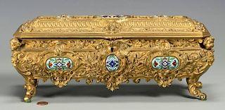 Rectangular Bronze Casket w/ Enamel