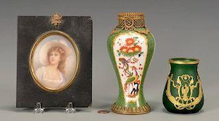 Gilt bronze vases & Miniature Portrait